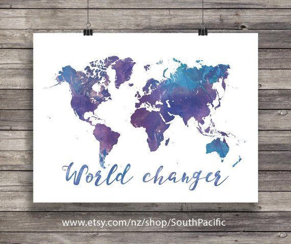 World map world changer watercolor geography art print world world map world changer watercolor geography art print world map art print printable wall ar pinterest products gumiabroncs Image collections