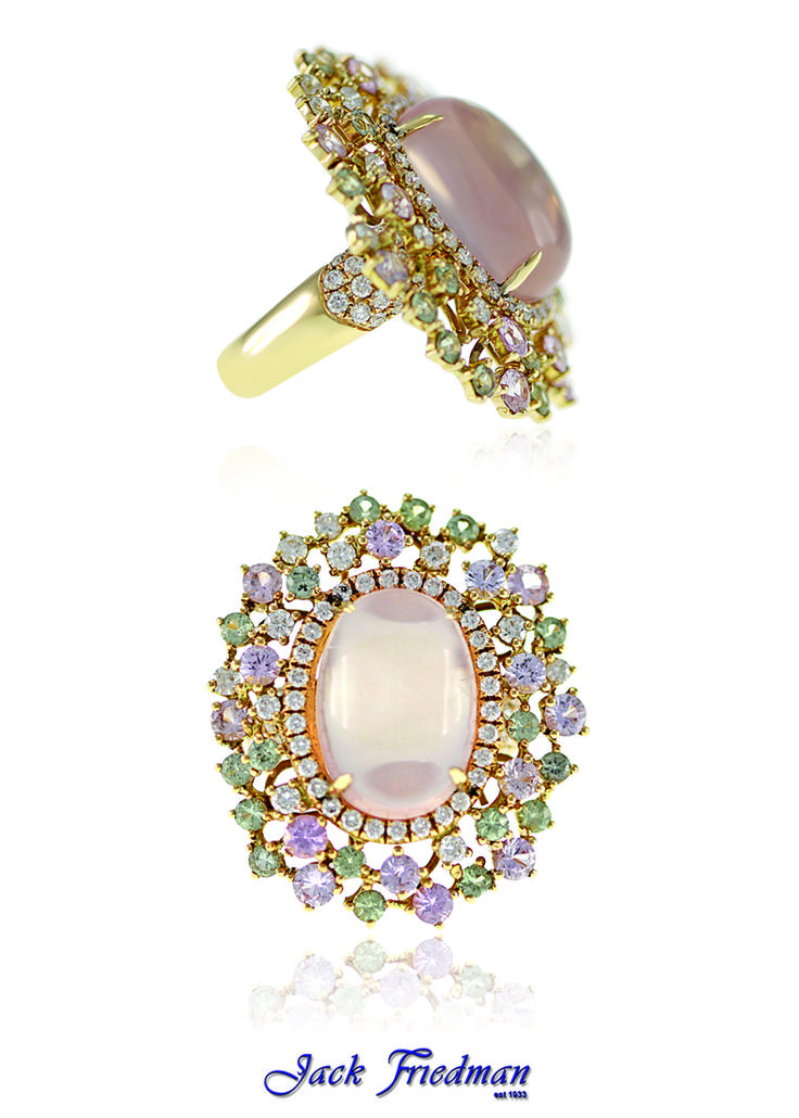 Dress ring with oval rose quartz, sapphires and diamonds  jackfriedman.co.za