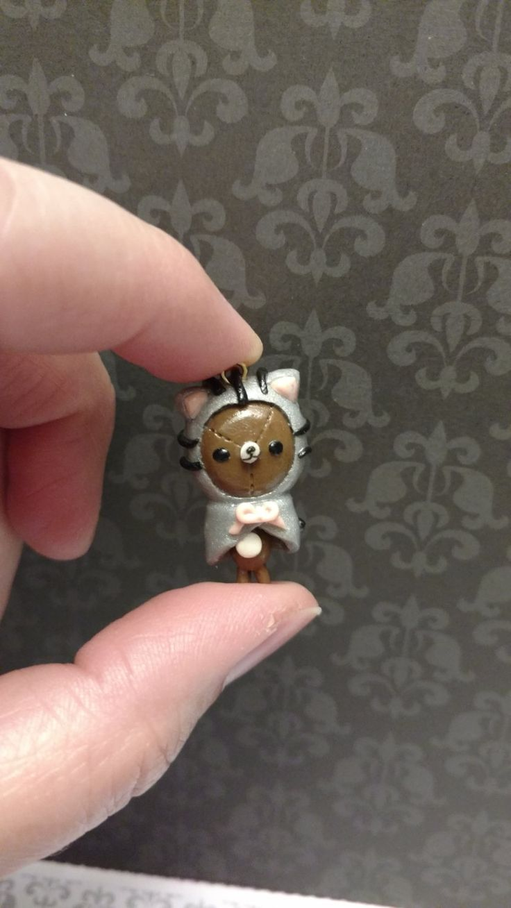 Rilakkuma bear in a Pusheen Hoodie Clay Charm by hallie on Etsy
