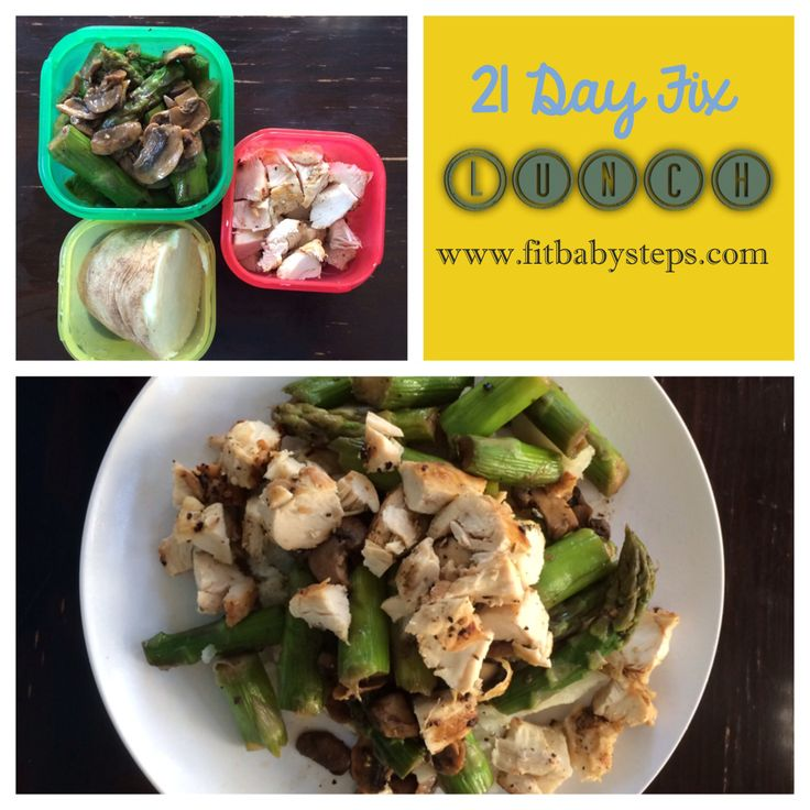 Baked Potato topped with Chicken, Asparagus, and Mushrooms (a 21 Day Fix Meal Idea)