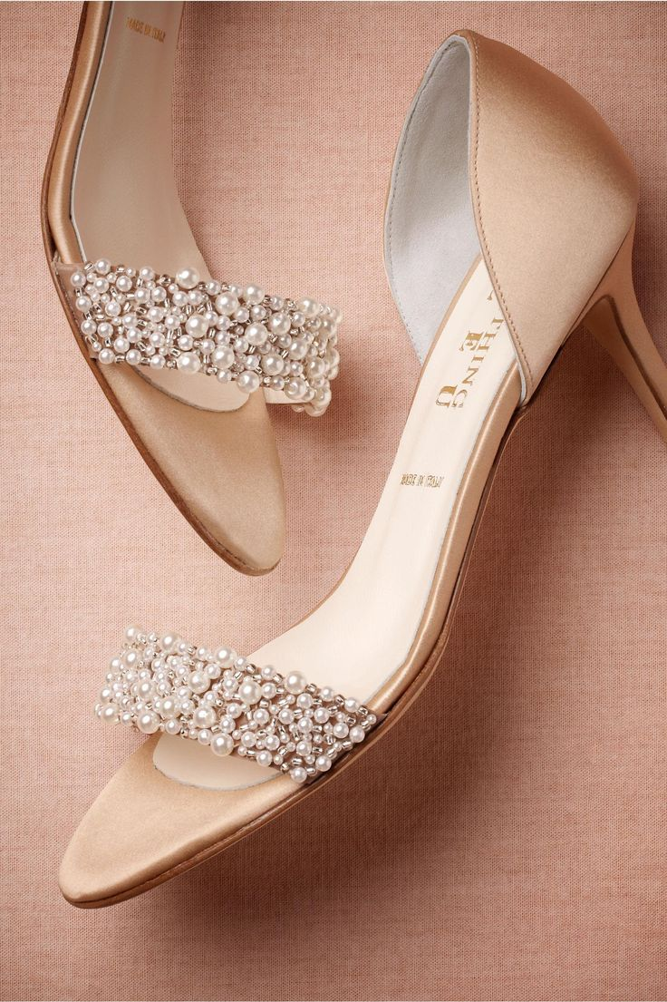 product | Oyster Bed d'Orsays from BHLDN | blush and pearl bridal shoes