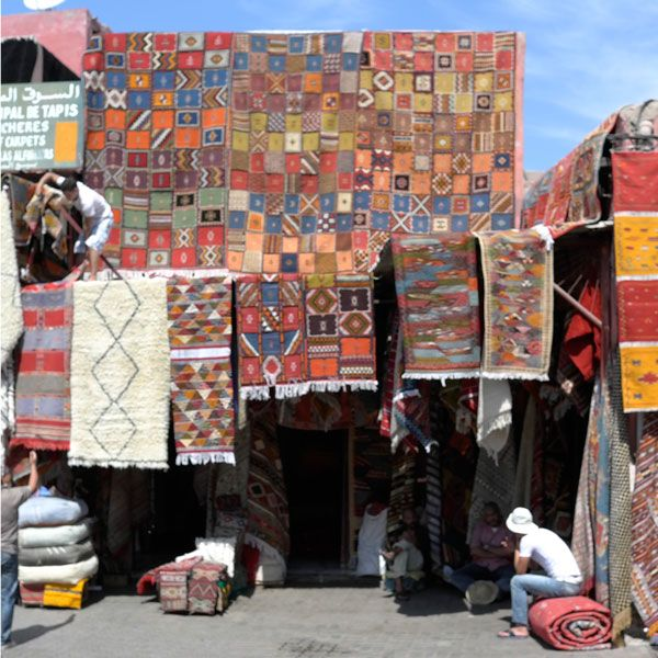 """""""With the help of Aid to Artisans, a team from west elm visited the open-air marketplaces in Marrakech to bring you a collection of found Moroccan rugs and carpets. The hand-woven carpets are one-of-a-kind and range from textural orange ombres to traditional Berber shags and Battani stripes…"""""""