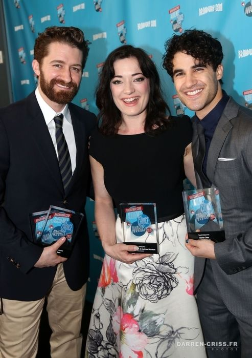 Winners Matthew Morrison (for 'Finding Neverland'), Laura Michelle Kelly(for 'Finding Neverland') and Darren Criss (for 'Hedwig and The Angry Inch') pose at the 2015 Broadway.com Audience Choice Awards at Lounge 48 on May 19, 2015 in New York City.