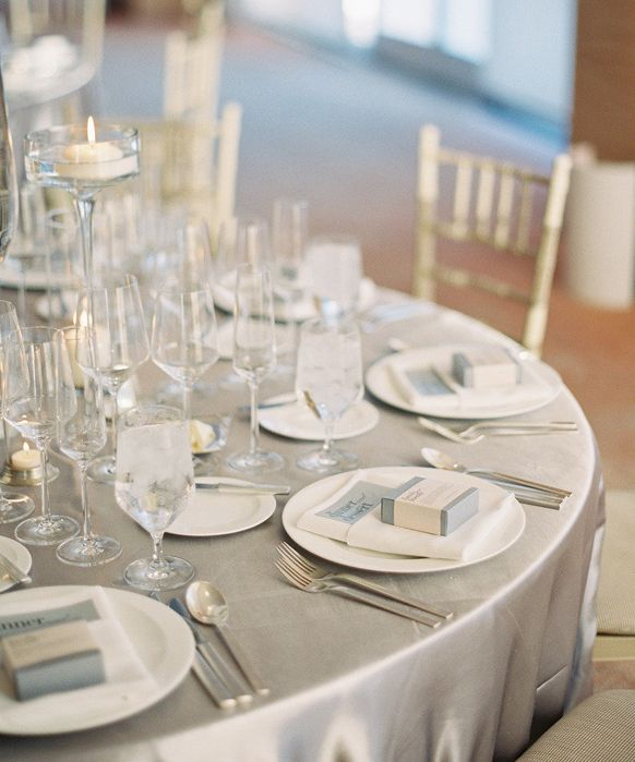 Silver Wedding theme table linen set up