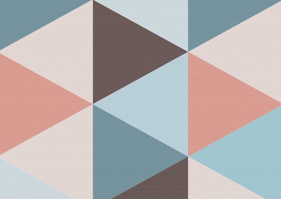 Carta da parati rimovibile geometrica. Rosa Blues e di Nicematches