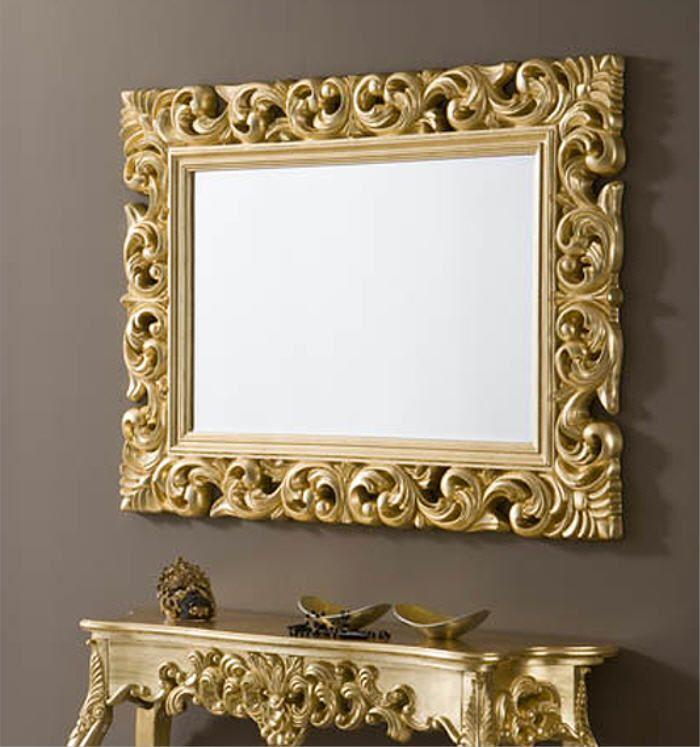 espejo barroco rectangular de resina acabado oro 120cm x