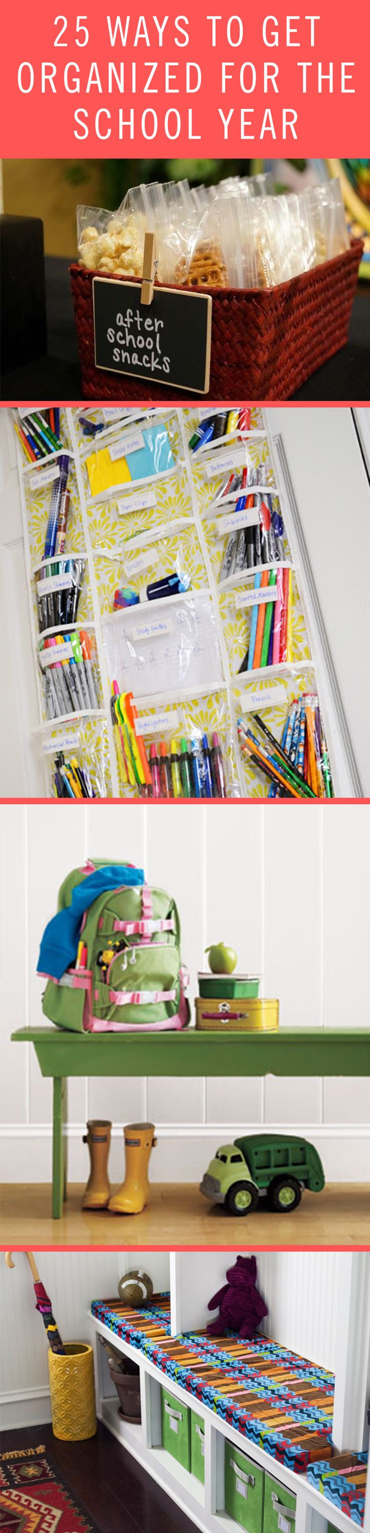 Wondering how to stay organized before sending your kids off to school? From separating after school snacks to setting aside school supplies, your little students will be ready to take on the year.