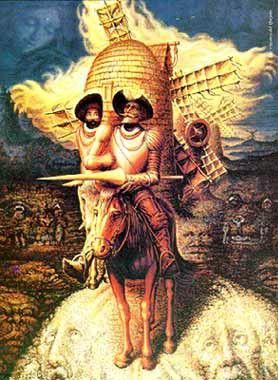 El rostro de Don Quijote de la Mancha, pero en donde en él se pueden ver otras imagenes.