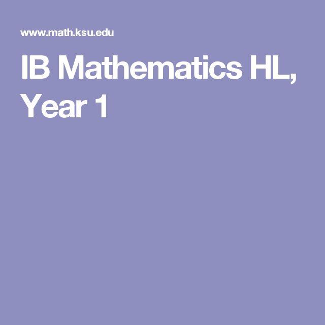 IB Mathematics HL, Year 1