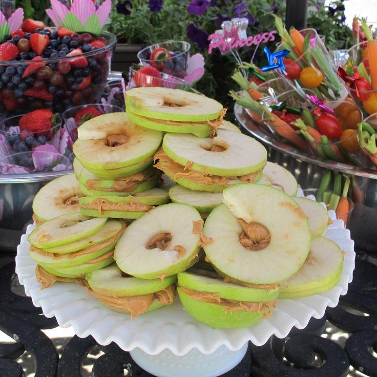 health kid party food apple peanut sandwiches