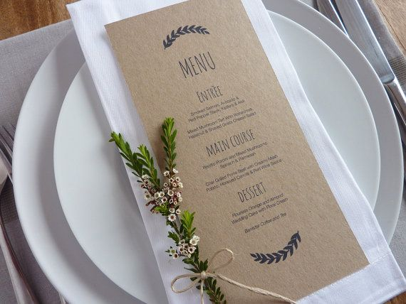 Menú boda imprimible Custom boda DIY por WhiteWillowPaper