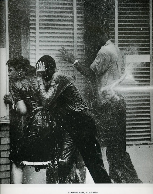 The Children's March by Charles Moore. At least 1,000 youth gathered and marched to face the police outside the 16th Street Baptist Church in Birmingham, Alabama on May 2, 1963. The police tried to intimidate them and eventually used firehoses to chase the protestors away.