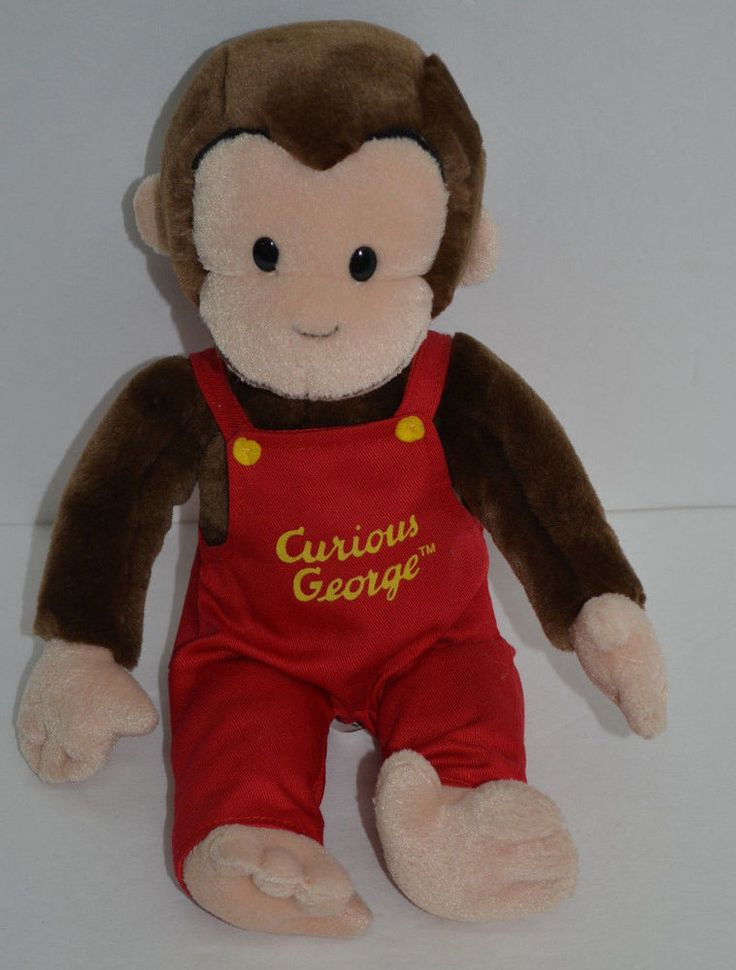 Vintage plush curious george in overalls