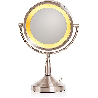 Jerdon Brushed Nickel Lighted Pedestal Makeup Mirror Ulta