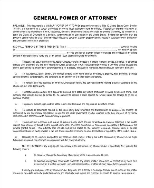 General Power Attorney Form Sample General Power Of Attorney 11 Free Documents In Power Of Attorney Form Power Of Attorney Attorneys