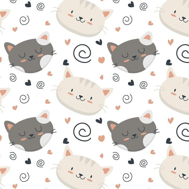 Cute Baby Cat Face Pattern Pattern Clipart Cat Seamless Png And Vector With Transparent Background For Free Download Cute Baby Cats Funny Cat Faces Baby Cats