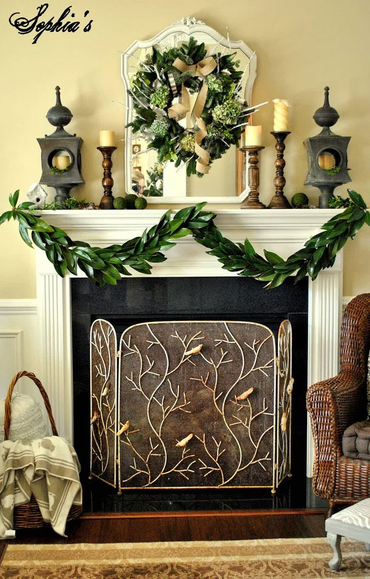 Christmas mantel decor pinterest - Furniture Accessories Awesome Country Christmas Decorations Green Christmas Wreath Off White Fireplace Mantel Light