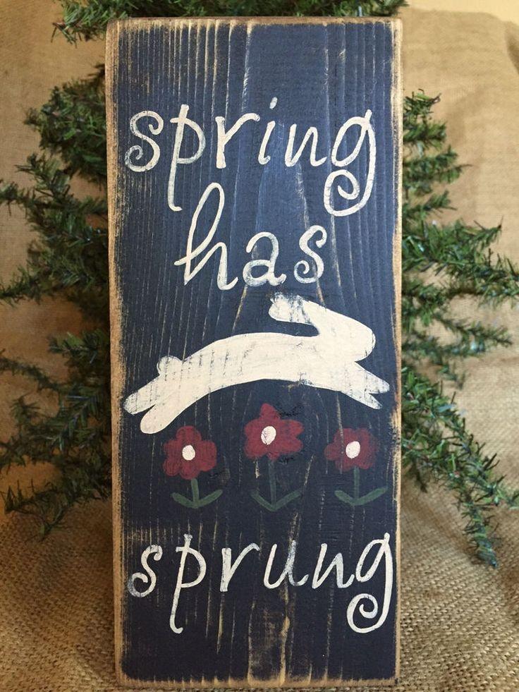 "Primitive Country Spring Has Sprung Rabbit 3.5"" x 8""  Wood Sign Shelf Sitter  #NaivePrimitive #DoughandSplintersStudio #primitivewoodsigns"