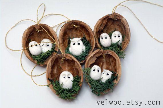 Eule-Ornament set - rustikale Weihnachts-Dekorationen - tierische Schmuck-Walnuss Verzierung-Nussschale Weihnachtsbaum Ornament - Christbaumkugel
