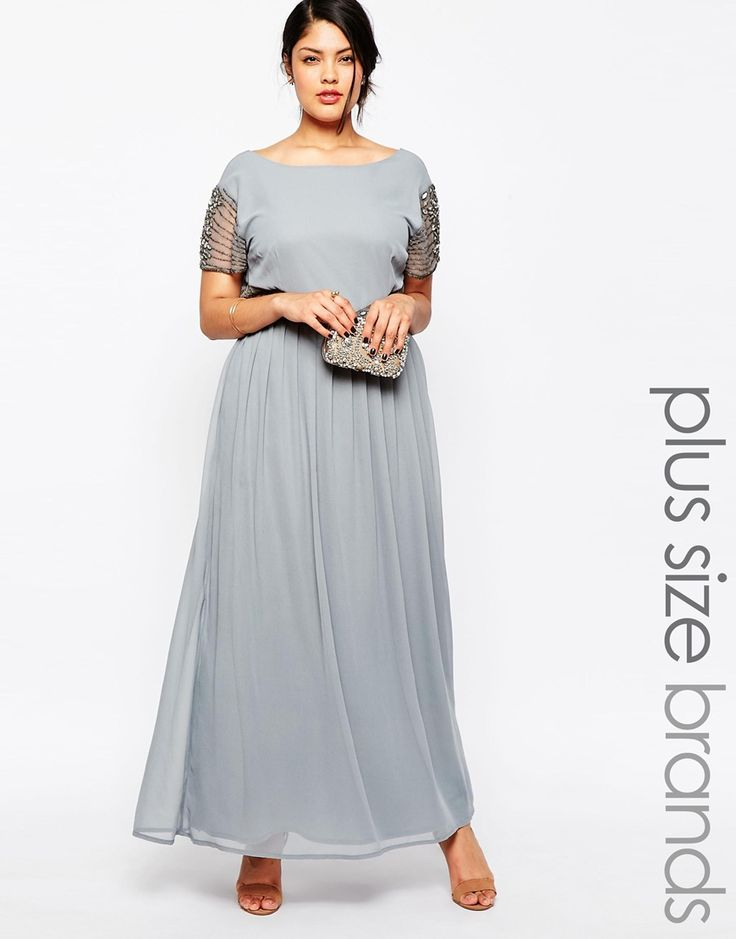 Image 1 ofLovedrobe Maxi Dress With High Neck and Embellished Waist