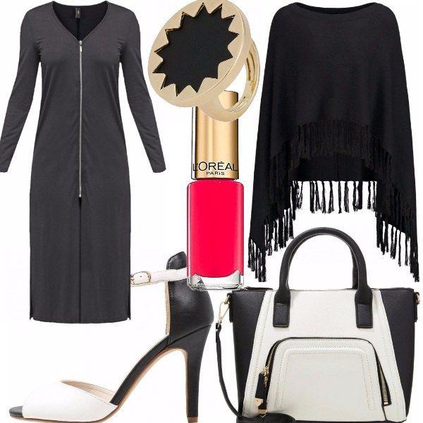 Un vestito molto sexy indossato nella giusta occasione: la zip è ovviamente regolabile a Vs. piacimento. L' ho abbinata ad un sandalo bianco e nero come la borsa. Un poncho qualora facesse freddo e lo smalto che consiglio rigorosamente rosso.