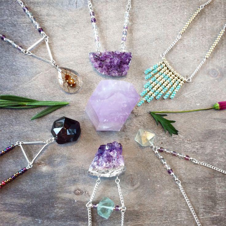 Edelsteen ketting amethist geode ruw edelstenen sieraden mineralen