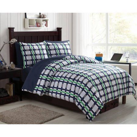 Mainstays Emmit Multi-Color Plaid Bed in a Bag Set, Green