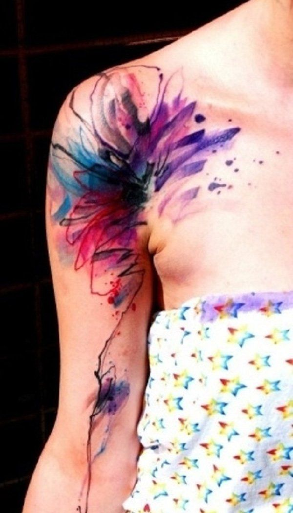 Water color tattoo on shoulder and arm - 55 Awesome Shoulder Tattoos | Art and Design