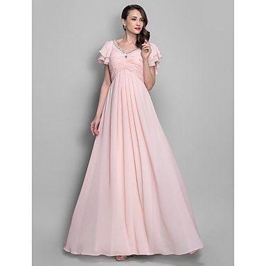 A-line/Princess V-neckl Floor-length Chiffon Grace Evening/Prom Dress – USD $ 98.99