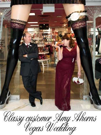 Classy dame Amy Ahrens wearing our burgundy #lacegown for her #Vegas #wedding