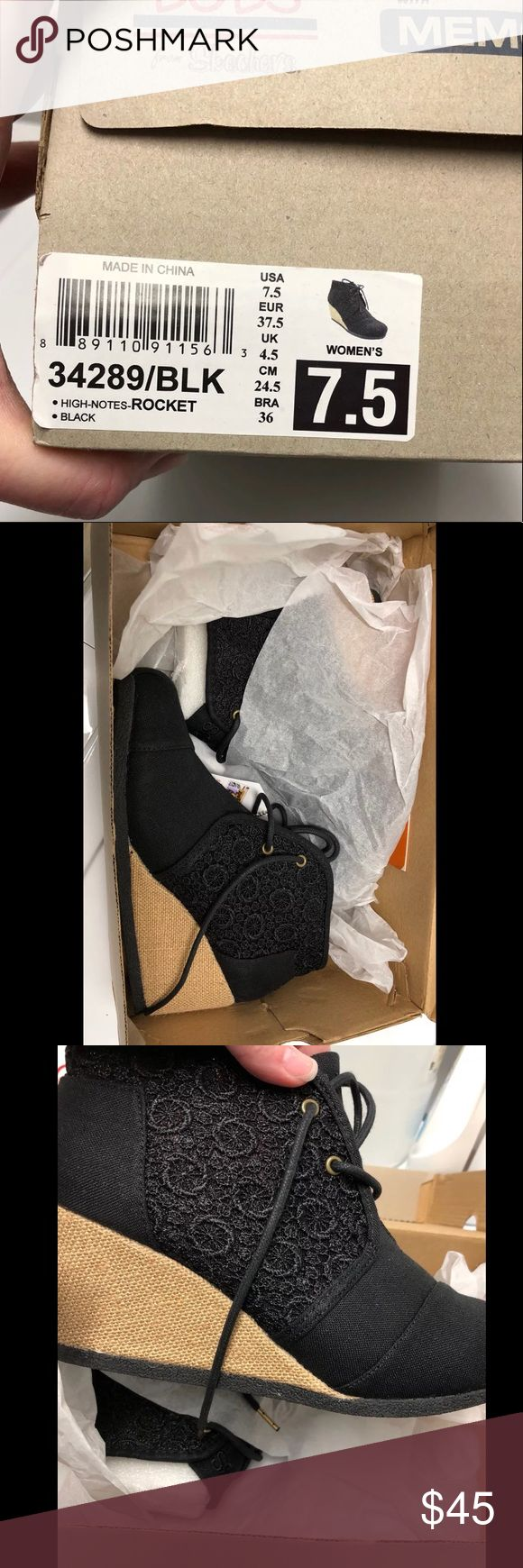 NWT Skechers Bobs High Notes Rocket Black Wedge New with tags still attached and still in the box. Retail is $49. I love them but I know I'm never going to wear them, I really only wear flats. The stuff is missing out of one shoe as it was tried on in store and they threw it out. The other shoe still has all the paper and styrofoam stuffing. Will be shipped with the box. The last photo is the other color this style came in to show you the detail on the side, that it is a floral/swirl print…