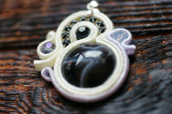 Unique artisan soutache pendant black and white with by NagualArt