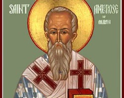 Feast of St. Ambrose;  Christian Religious Celebration;  December 7;  Roman lawyer, governor, and bishop; a pivotal figure in the rise of Christianity at the end of the Roman Empire.  Doctor of the church; patron saint of beekeepers and domestic animals.