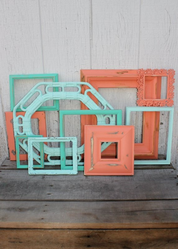 aqua turquoise and coral painted frame set wall gallery collection 10 piece