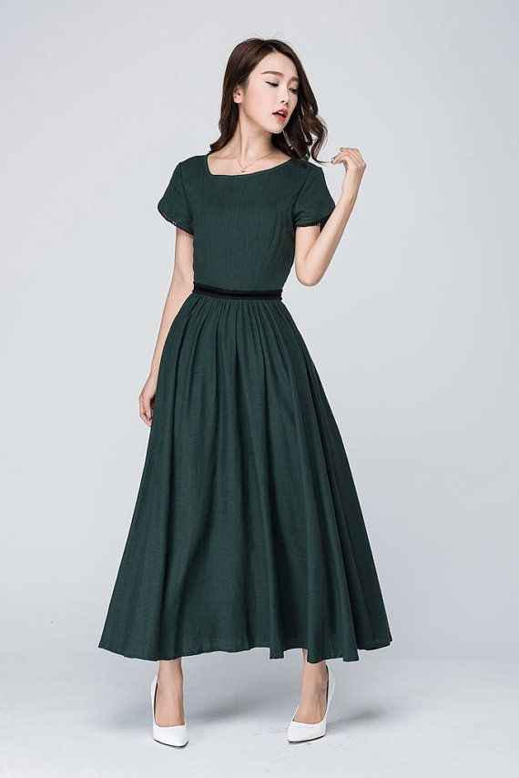 green linen dress prom dress fitted waist dress party by xiaolizi