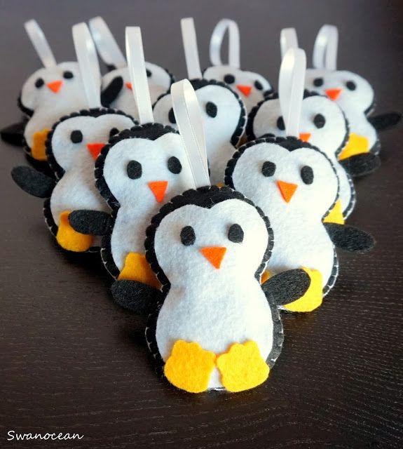 Felt penguins and cup cozies-Τσόχινα πιγκουινάκια και μανικάκια κούπας