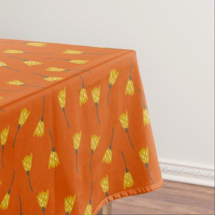 Autumn Abstract Yellow Flowers on Orange Tablecloth - thanksgiving day family holiday decor design idea