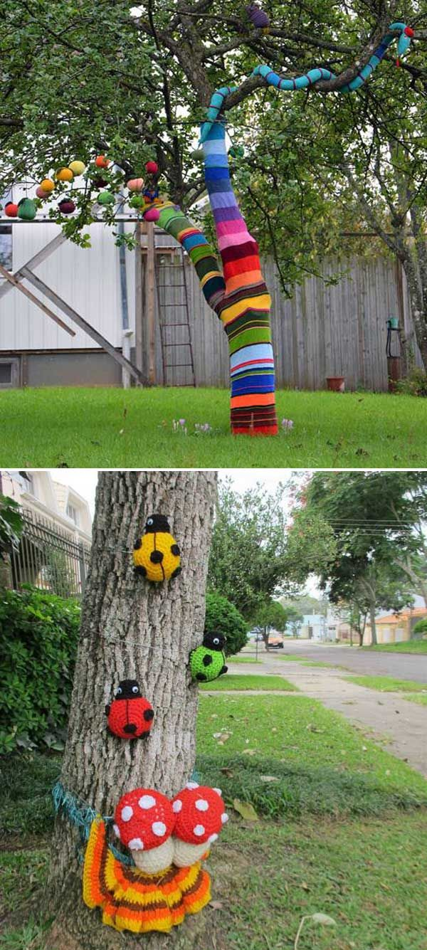 Graffiti knitting projects are also suitable for your home's outdoor. - Top 20 Cutest Crochet Projects Help to Personalize Your Home