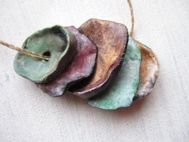5 Petal Disc Relic Talisman Boho Painted Porcelain Clay Beads No.119. £12.00, via Etsy.