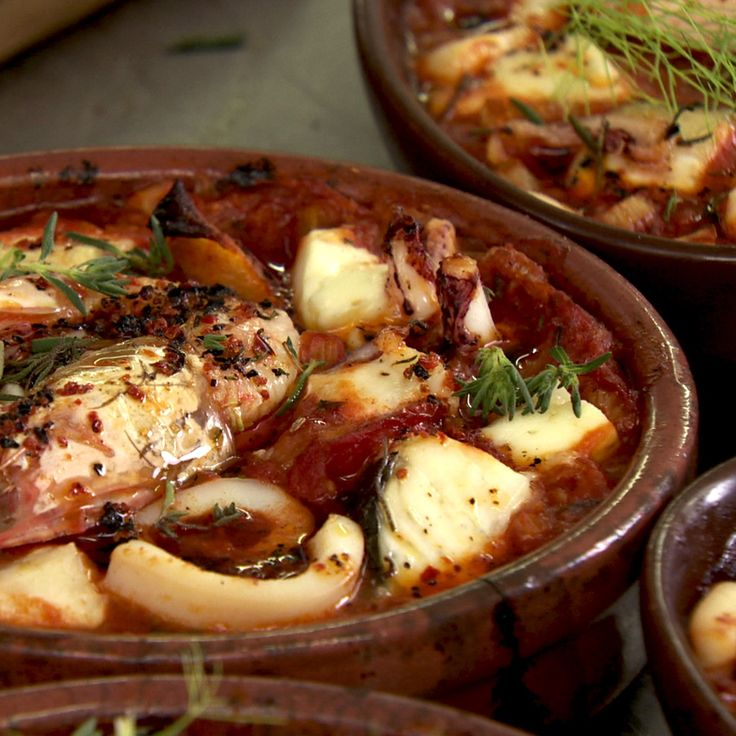 Baked seafood with tomatoes and Turkish cheese: In a large frying pan sauté the fennel and garlic in the olive oil on a medium heat for about 10 minutes or until softened. Add the cumin and fennel seeds and cook for another minute. Stir in the tomato paste and then add the raki or ouzo....
