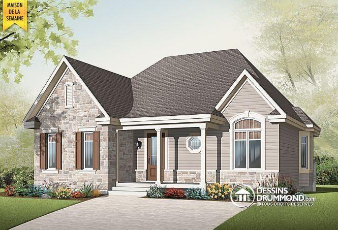 MAISON DE LA SEMAINE  Modèle bungalow champêtre, coin bureau, à aire ouverte avec foyer 2 faces   http://www.dessinsdrummond.com/detail-plan-de-maison/info/1002969.html