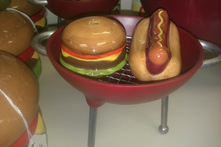 Salt and Pepper Shakers with Grill Holder