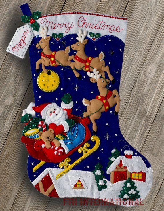 Bucilla Christmas Stocking Kits.Bucilla Christmas Night 28 Jumbo Felt Stocking Kit 86740