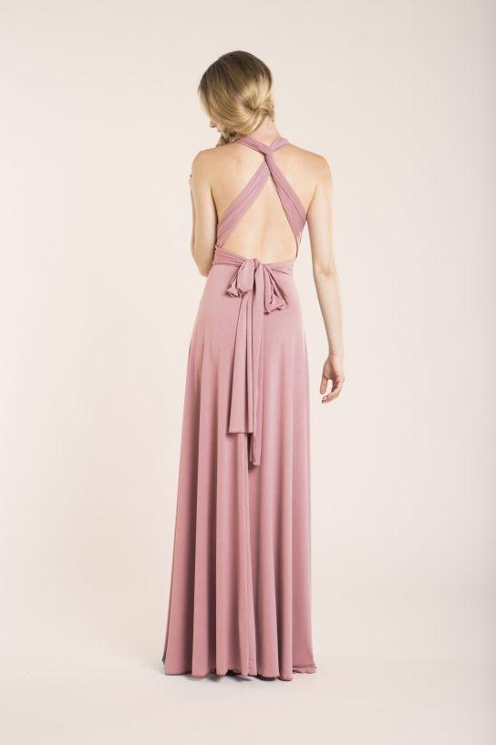 Vestido rosa palo convertible para invitada - Gala Essential Largo ... 93c6b7602f73