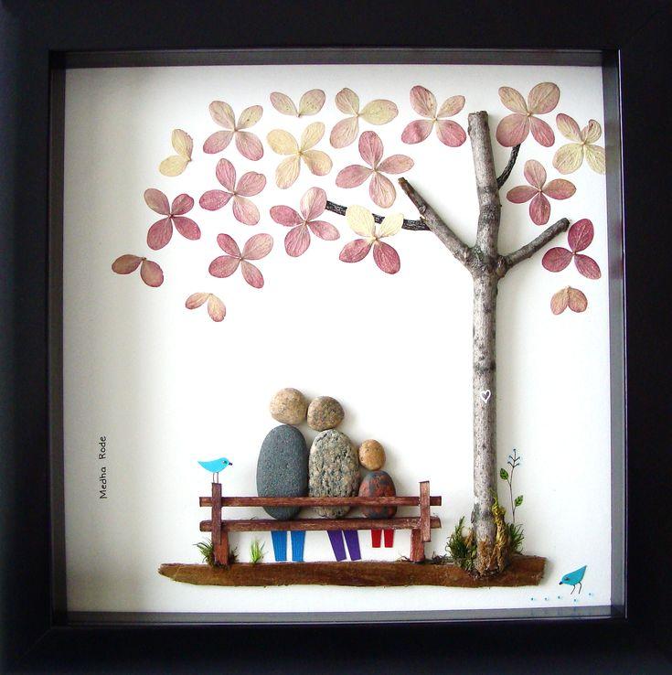 Pebble Art Family- Unique Wedding Gift- Anniversary Gift- Best Wedding Gift- Family of Three- Pebble People- Custom Wedding Gift- Pebble Art by Medha Rode at https://www.etsy.com/shop/MedhaRode