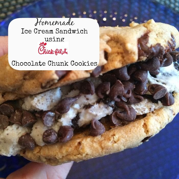 Homemade Ice Cream Sandwiches with Chick Fil A Chocolate Chunk Cookies - Adventure Mom Blog