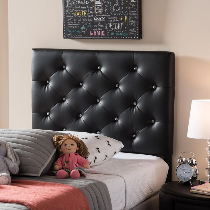 Viviana Faux Leather Queen Upholstered Button-Tufted Headboard in Black