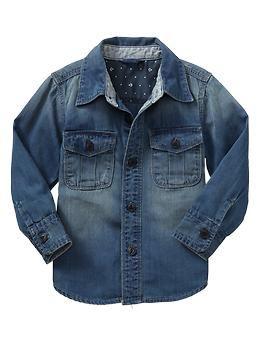 Denim shirt | Gap,  Toddler Boy Style, Boys Fashion, Baby Boy Fashion