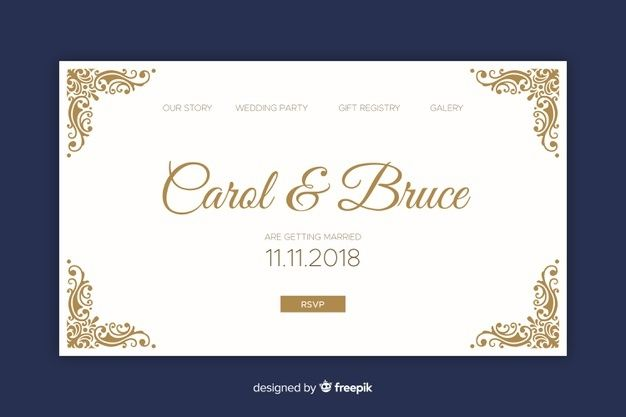 Elegant Wedding Landing Page In 2020 Wedding Invitation Card