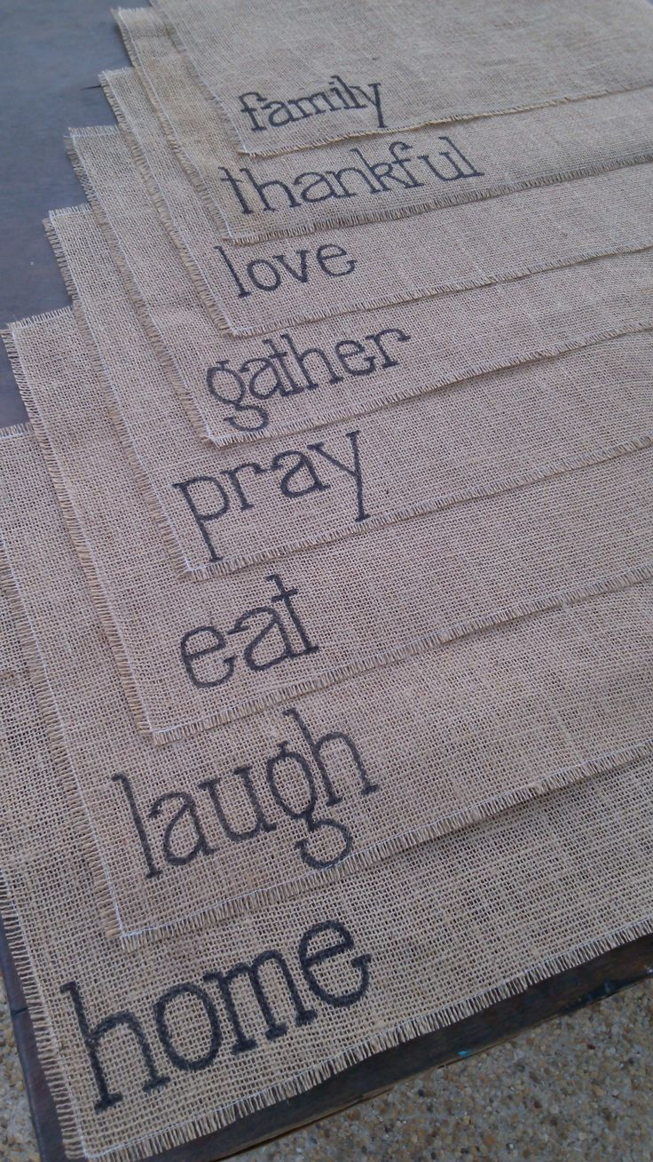 www.ShamrockHillDesigns.com Burlap placemat with a message.